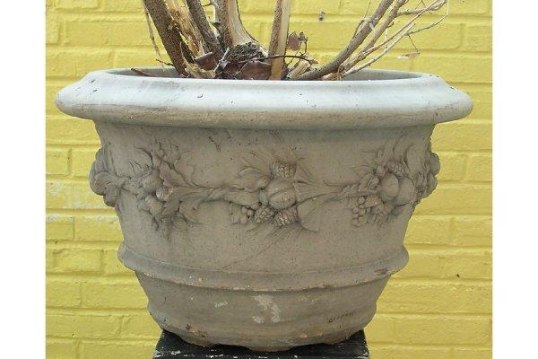16: Pair Galloway style glazed terracotta garden pots