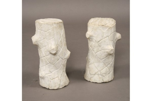 17: Pair of marble tree form fence posts cir