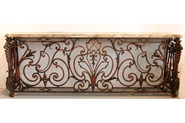 23: Lg pr antique French garden console  marbelized