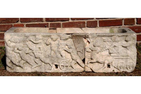 184: Antique carved marble fragmented figural planter