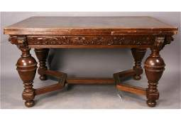 551: antique French oak extension dining table lion