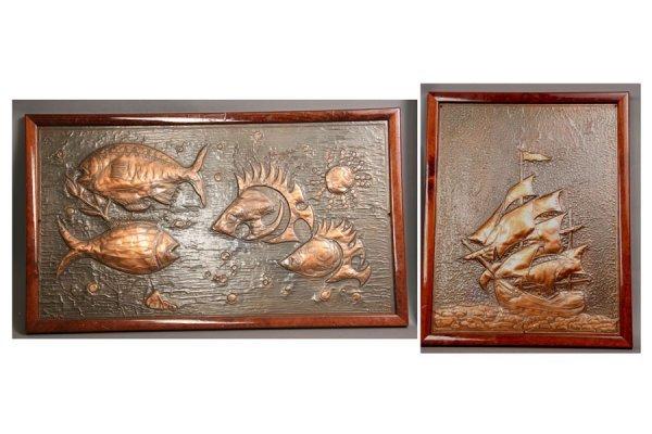 728: copper relief decorated plaque fish ship