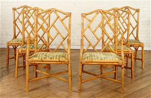 SET 6 FRENCH RATTAN DINING CHAIRS CIRCA 1970