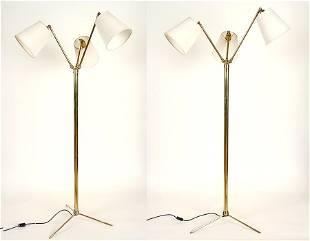 PAIR ADJUSTABLE BRASS FLOOR LAMPS CIRCA 1950