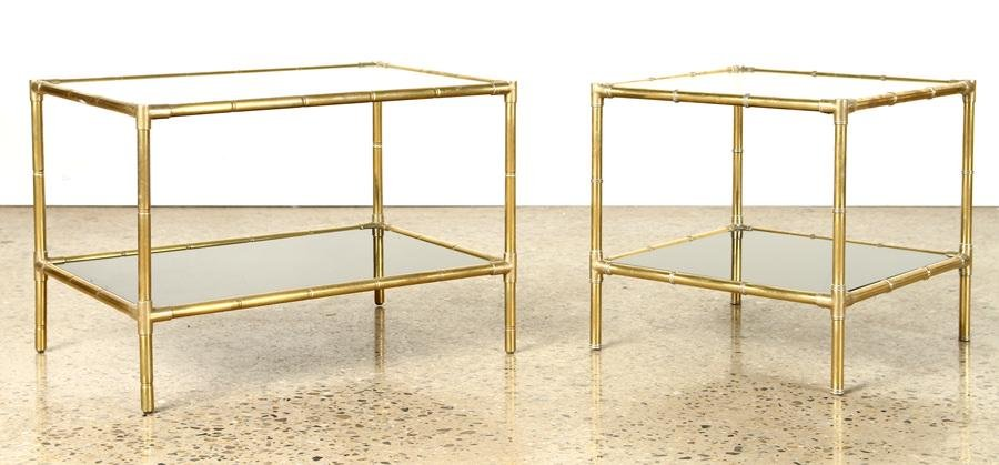 PAIR BRASS BAMBOO STYLE TWO TIER TABLES C.1970
