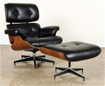 EAMES STYLE LEATHER LOUNGE CHAIR AND OTTOMAN