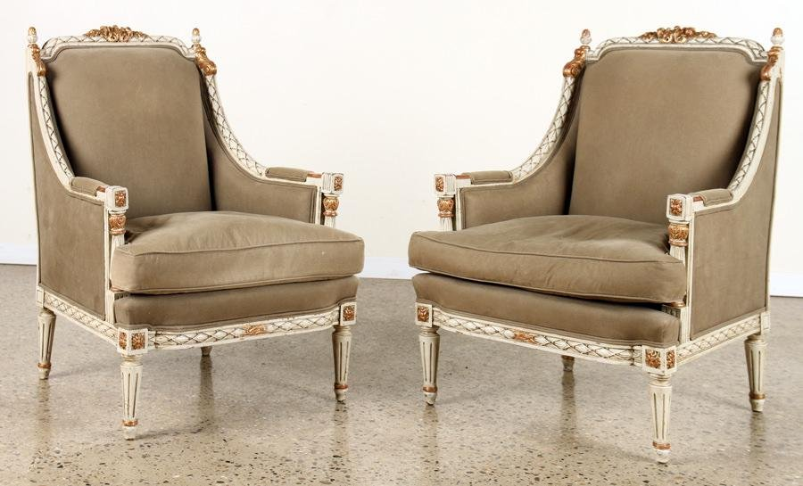 PR JANSEN STYLE BERGERE CHAIRS GILT ACCENTS C1940