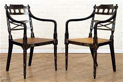 PAIR 19TH C ENGLISH ADAMS STYLE OPEN ARM CHAIRS