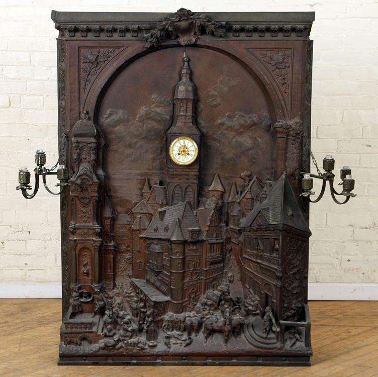RARE CAST IRON OVERMANTLE CLOCK 19TH C.