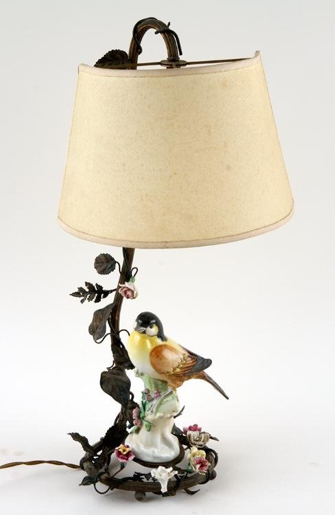 BRONZE TABLE LAMP HAND PAINTED PORCELAIN C.1910