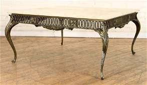 FRENCH CAST BRONZE COFFEE TABLE WITH ONYX TOP