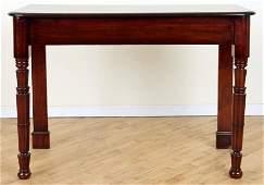 19TH C. IRISH MAHOGANY CONSOLE TABLE TURNED LEGS