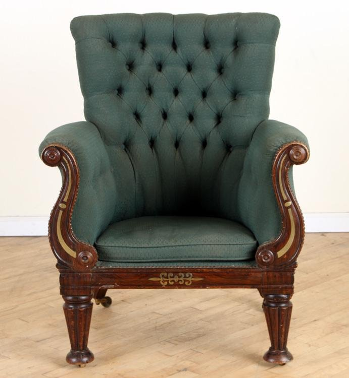 LATE REGENCY FAUX ROSEWOOD BRASS INLAID CHAIR