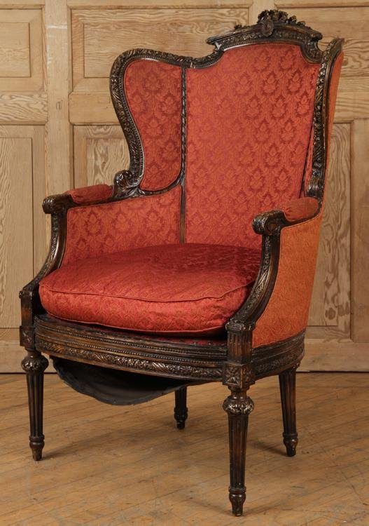 LATE 19TH C. FRENCH LOUIS XVI STYLE BERGERE CHAIR