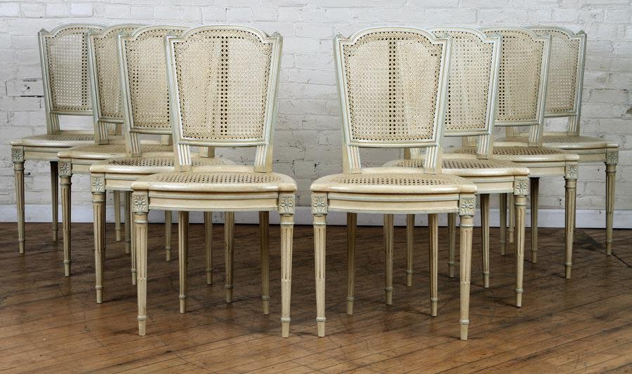 SET 8 CARVED LOUIS XVI STYLE DINING CHAIRS C.1910