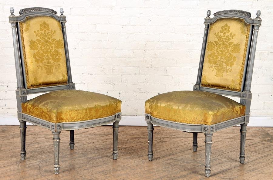 PAIR PAINTED CARVED LOUIS XVI SIDE CHAIRS C.1910