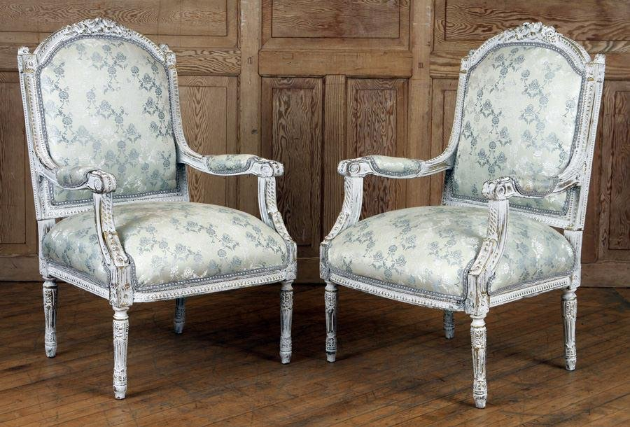 PAIR PAINTED GILT OPEN ARM CHAIRS LOUIS XVI STYLE