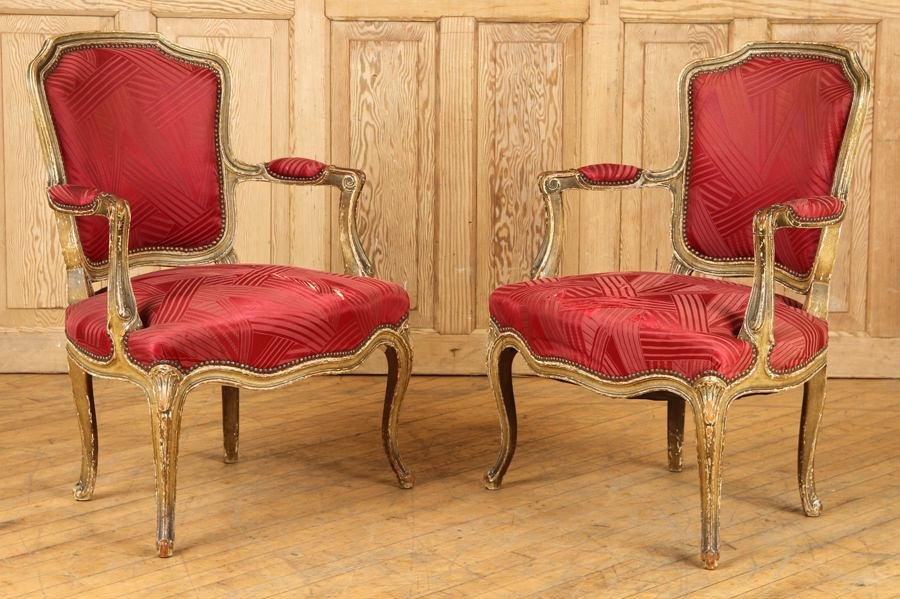 PAIR FRENCH LOUIS XV STYLE OPEN ARM CHAIRS C.1920