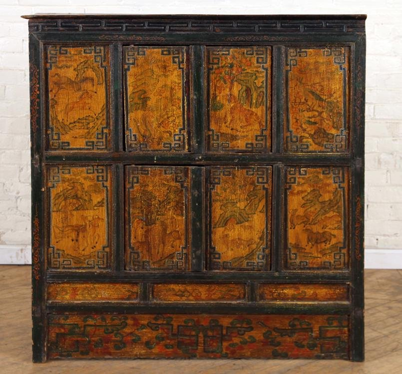LATE 19TH C. TIBETAN PAINT DECORATED CABINET