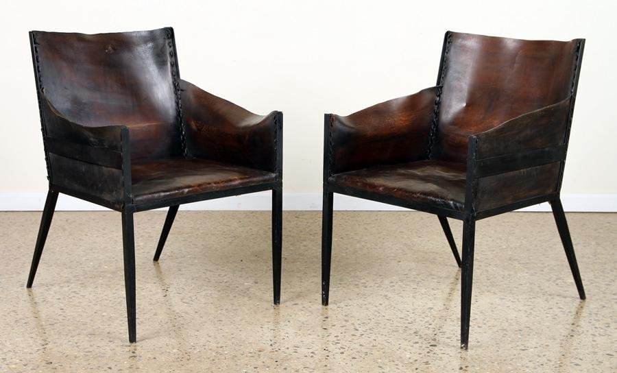 PR IRON LEATHER CHAIRS MANNER JEAN-MICHEL FRANK