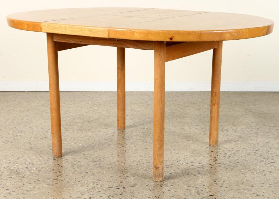 ROUND ASH AND ELM TABLE IN MANNER OF PIERRE CHAPO