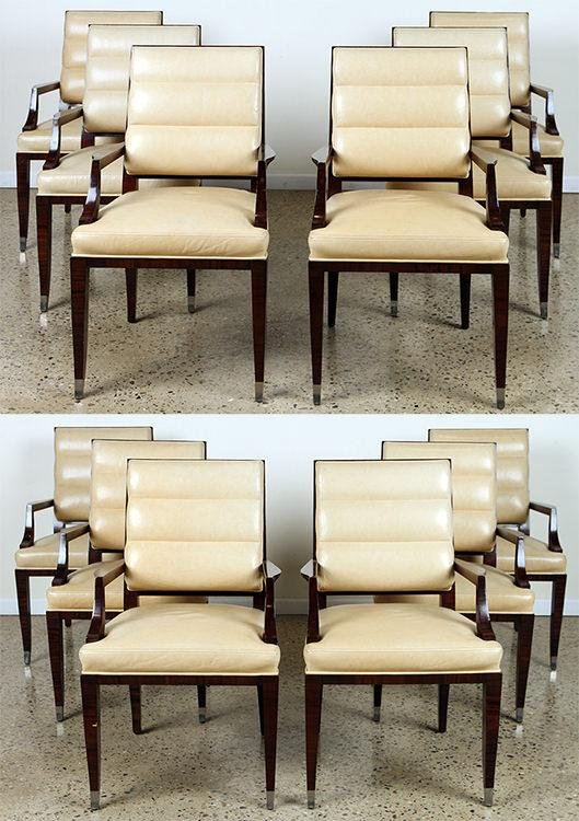 RARE SET 12 LUCIEN ROLLIN OPEN ARM DINING CHAIRS