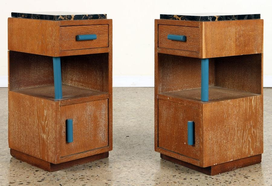 PAIR FRENCH ART DECO MARBLE TOP OAK END TABLES