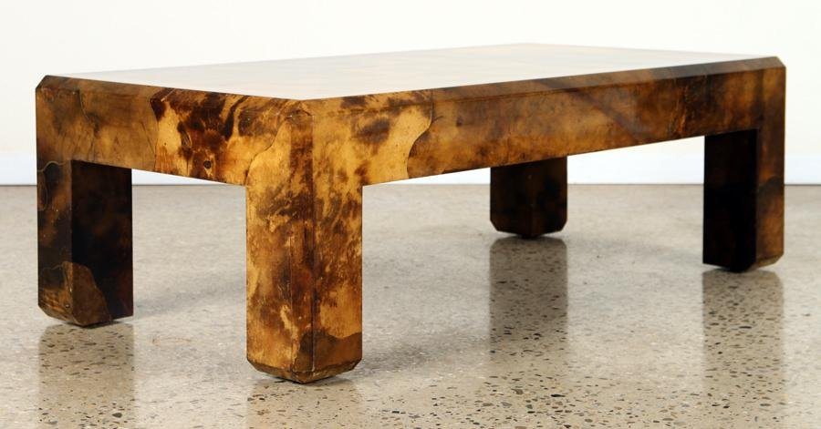 KARL SPRINGER LACQUERED GOAT SKIN COFFEE TABLE