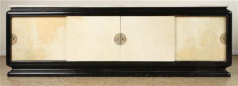 JAMES MONT STYLE MARBLE TOP EBONIZED SIDEBOARD