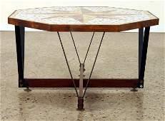ITALIAN COFFEE TABLE MOSAIC TILE TOP CIRCA 1970