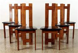 SET 6 WALNUT DINING CHAIRS MANNER TOBIA SCARPA