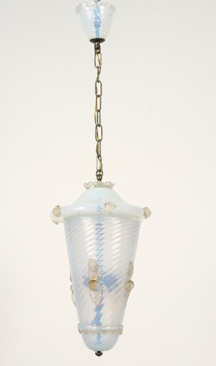 MURANO GLASS HANGING LIGHT FIXTURE SWIRL GLASS
