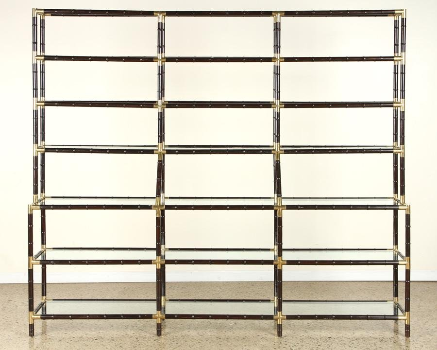 BILLY HAINES STYLE GLASS BRASS BOOKCASE C.1960