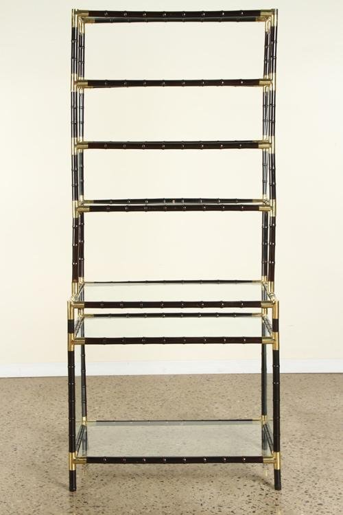BILLY HAINES STYLE BRASS FAUX BAMBOO ETEGERE 1960