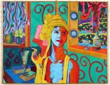 "PABLO CONTRISCIANI ""WOMAN SMOKING"" OIL ON CANVAS"