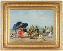 JACQUES DEVEAU FRENCH BEACH SCENE OIL ON CANVAS