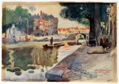 "JAMES MONTGOMERY FLAGG ""A LEIDEN CANAL, HOLLAND"""