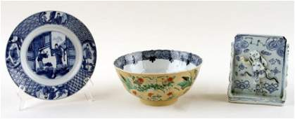 THREE ANTIQUE CHINESE PORCELAIN WORKS OF ART