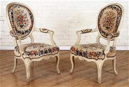 PAIR 19TH C FRENCH LOUIS XV STYLE OPEN ARM CHAIRS