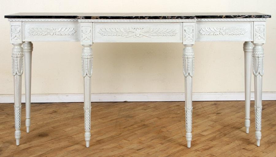 REGENCY STYLE CONSOLE TABLE BLACK MARBLE TOP