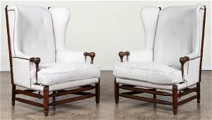 PAIR PAOLA BUFFA UPHOLSTERED OAK WING CHAIRS