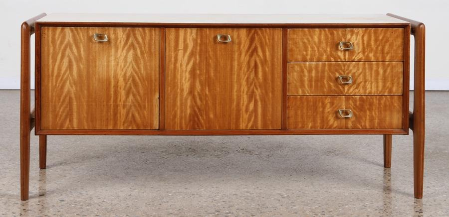 PARCHMENT COVERED SIDEBOARD FLOATING CABINET