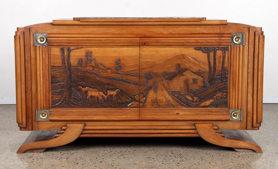 SIGNED ART DECO WALNUT MARBLE TOP SIDEBOARD C1940