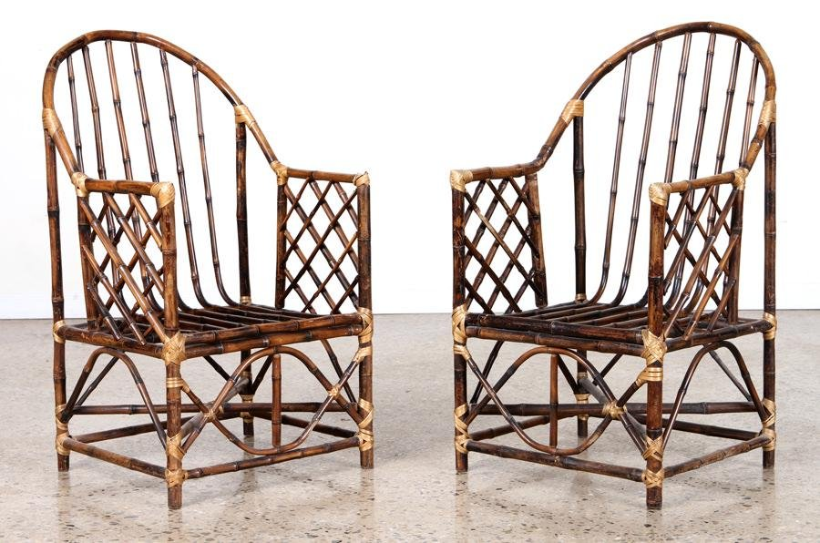 PAIR BAMBOO GARDEN CHAIRS ARCHED BACKS C. 1950