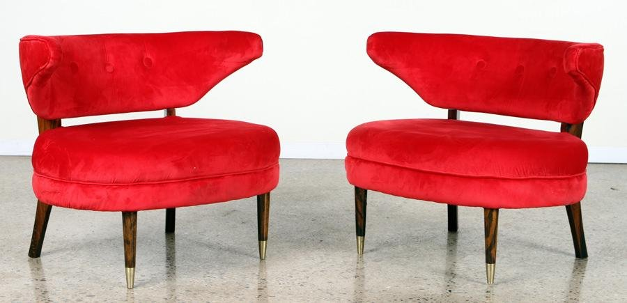 PAIR OVERSIZED UPHOLSTERED LOUNGE CHAIRS