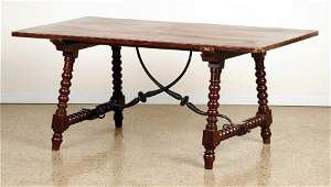 SPANISH COLONIAL STYLE MAHOGANY INLAID TABLE 1900