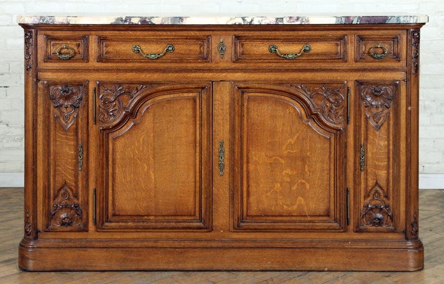 19TH C. FRENCH MARBLE TOP CARVED OAK SIDEBOARD