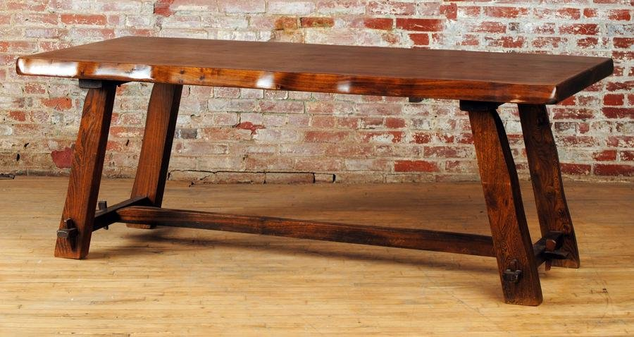 Arts And Crafts Style Slab Top Table