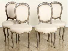 SET 4 CARVED ART DECO SIDE CHAIRS C.1930