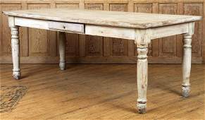 WHITEWASHED PINE TABLE TURNED LEGS ONE DRAWER